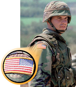 Flag worn backwards on military uniform